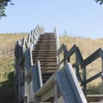 Stairs leading up into Nose Hill Park, a large urban grassland park in NW Calgary.