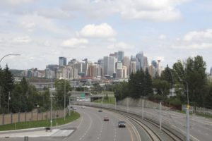 View of Calgary downtown from Bow Trail