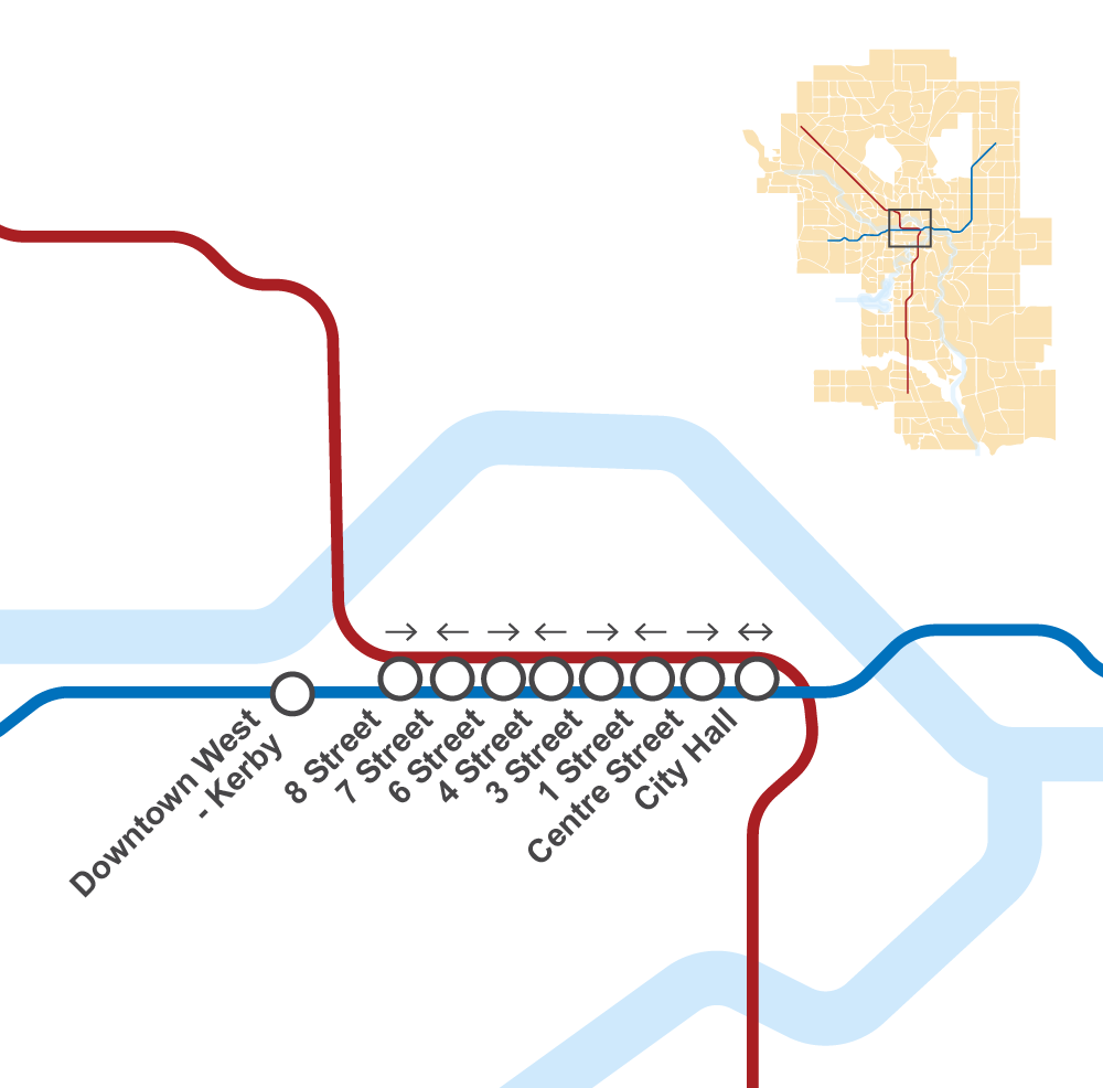 Calgary downtown LRT map
